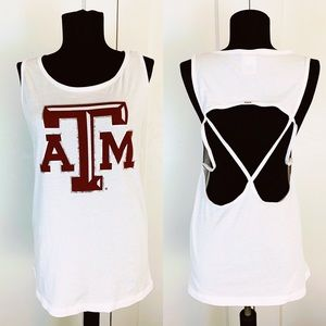 PINK Texas A&M Aggies Open Back Tank Top Sz L